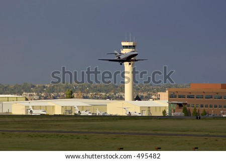 Hawker Jet departing - stock photo