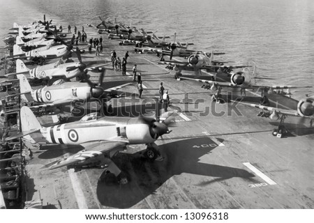 Hawker Sea Furies aboard HMS Glory on 17th March 1952 during Korean War