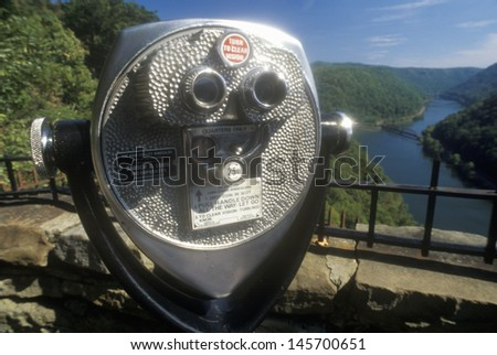 Hawks Point State Park Overlook on Scenic Highway US Route 60 over the New River in Ansted, WV - stock photo
