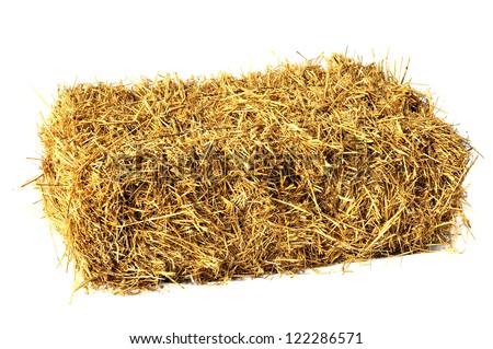 Hay bale isolated on white - stock photo