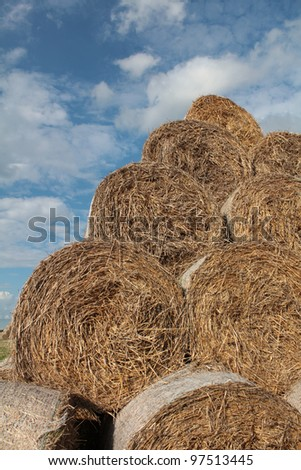 Hay bales and cloudy sky