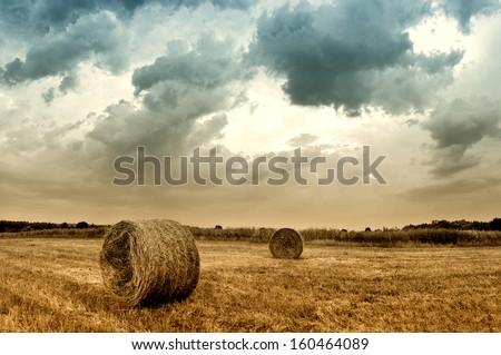 Hay bales in a field just before a storm  - stock photo