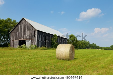 Hay bales in a field with an old barn on a sunny day - stock photo