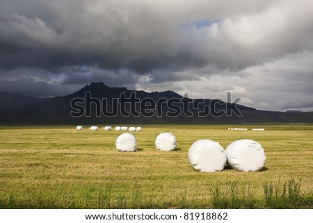 Hay bales on a sunny day with a storm brewing in the background - stock photo