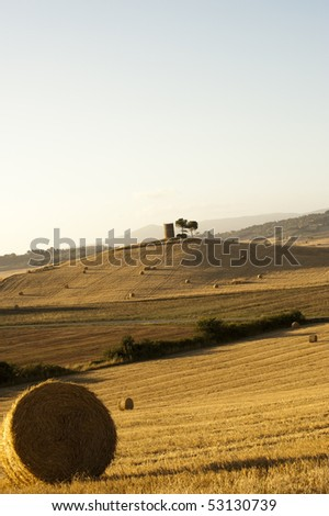Hay Bales on a yellow field in the tuscany country at sunset - stock photo