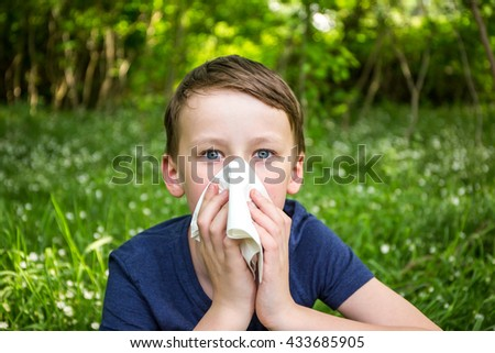Hay fever - allergic rhinitis in children - stock photo
