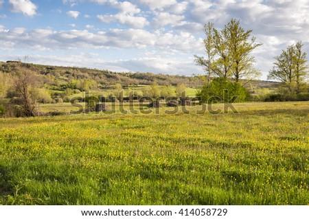 Hay meadows in the Fenar Valley, La Robla Municipality, in Leon Province, Spain - stock photo