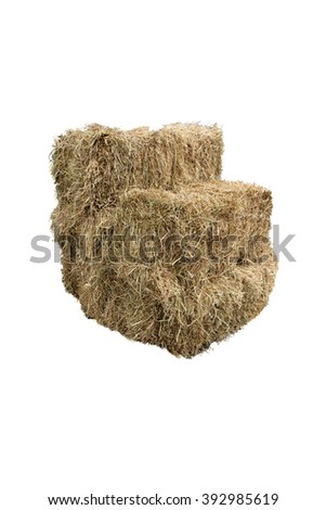 Hay stack isolated in white background - stock photo