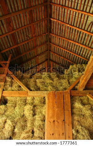 hay stacked in barn