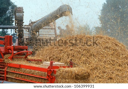 Hay thresher at Festival of American Folklife, Washington DC - stock photo