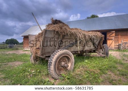 Hay wagon for farm animals - stock photo
