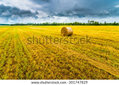 Haystack in the field before the storm - stock photo