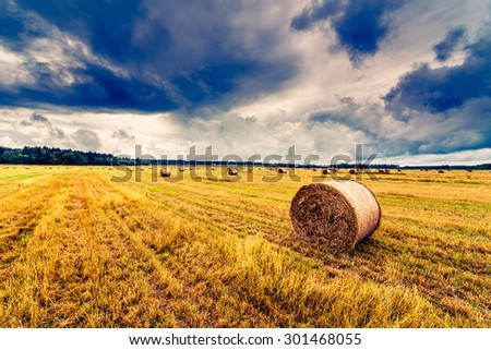 Haystack in the field before the storm. Image in the yellow-blue toning - stock photo