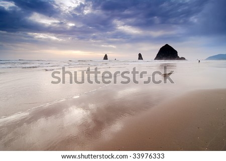 Haystack Rock and the Needles in Cannon Beach, Oregon, USA - stock photo