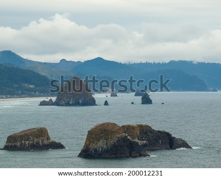 Haystack Rock Viewed from the Ecola State Park Overlook - stock photo