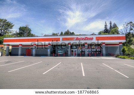HAYWARD, CA - APRIL 17, 2014 - Newly opened Autozone with empty parking lot  - stock photo