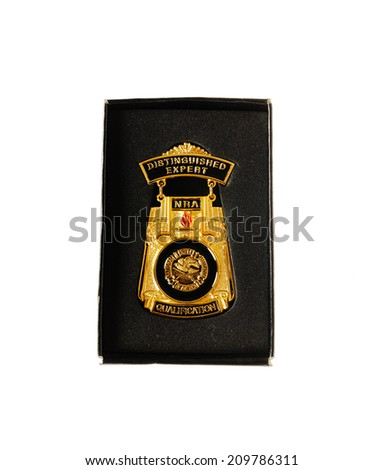 Hayward, CA - August 7, 2014: NRA Distinguished Expert Medal awarded for qualification in shooting skills - stock photo