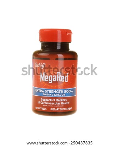 Hayward, CA - February 1: Bottle of Schiff Brand MegaRed Extra Strength Omega 3 Krill oil - illustrative editorial - stock photo