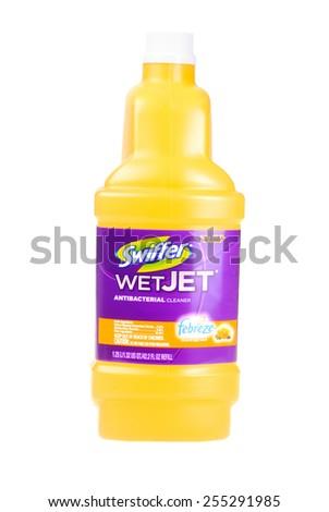 Hayward, CA - February 23, 2015: 1.25 liter bottle of Swiffer WetJet antibactereal floor  cleaner -Illustrative Editorial - stock photo
