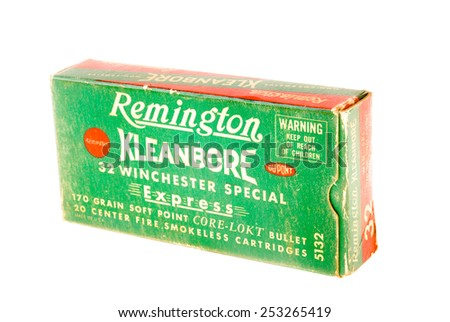 Hayward, CA - February 10, 2015: old Remington Cleanbore 32 Winchester Special caliber centerfire rifle ammunition - stock photo