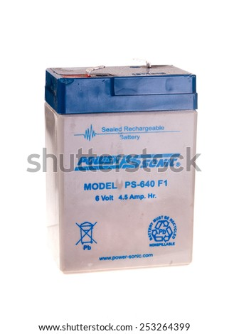 Hayward, CA - February 10, 2015: PowerSonic 6 volt, 4.5 Amp sealed rechargeable lead acid battery Model PS-640 F1 - stock photo