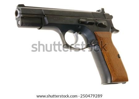 Hayward, CA - February 3, 2015: Tangfolio Brothers model TZ 75, 9mm semi-automatic pistol, isolated on white - stock photo