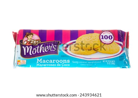 Hayward, CA - January11, 2015: 13 oz packet of Mother's brand Macaroons - stock photo