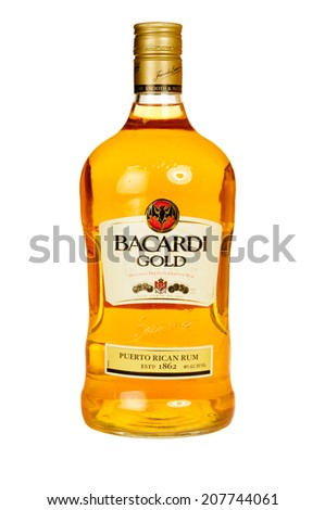 Hayward, CA - July 28, 2014: Bottle of Ron Bacardi Gold Puerto Rican Rum - stock photo