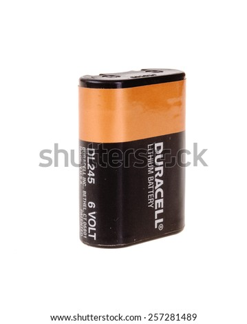 Hayward, CA - March 1, 2015: Duracell DL 245 Lithium 6 volt battery used in film cameras - stock photo