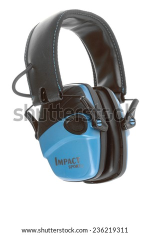 Hayward, CA - November 27, 2014: Howard Leight Impact Sport amplified hearing protection by Honeywell isolated on white - stock photo