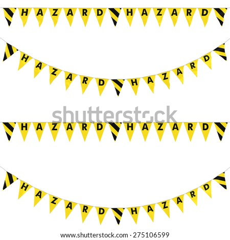 HAZARD Bunting with Yellow and Black Stripes Collection: 3D reflection and flat orthographic textures - stock photo