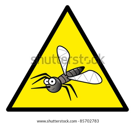 Hazard sign with a mosquito in it - stock photo