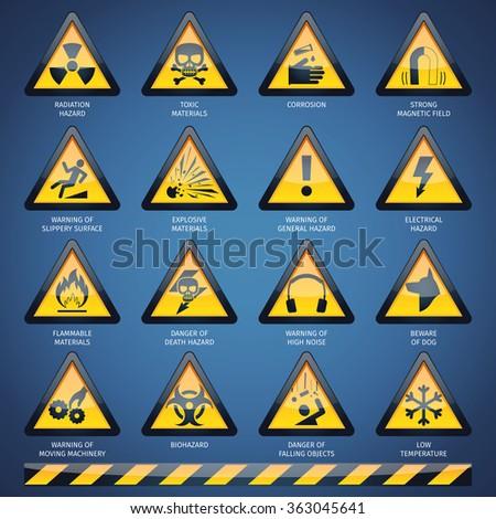 Hazard Signs Set - stock photo