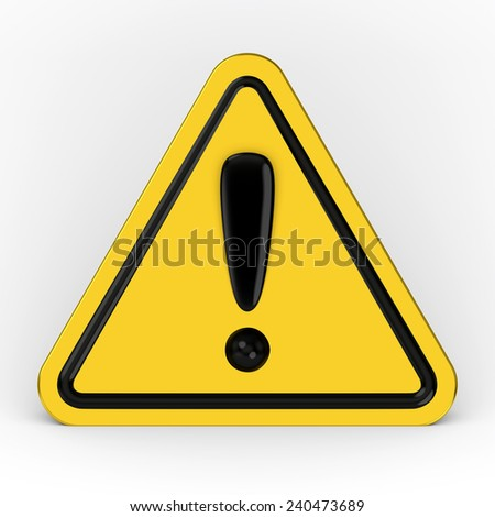 Hazard warning attention sign with exclamation mark symbol 3D - stock photo