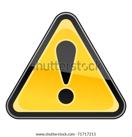 Hazard warning attention sign with exclamation mark symbol on white. Bitmap copy my vector ID: 50107477 - stock photo