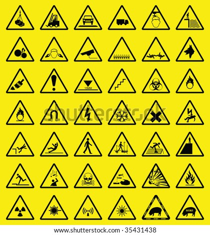 Hazard warning sign collection all signs individually layered