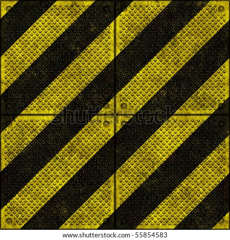 Hazard warning signs on metal plates background seamless texture
