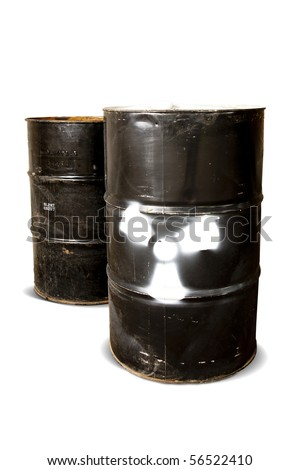hazardous drum barrels isolated on white - stock photo