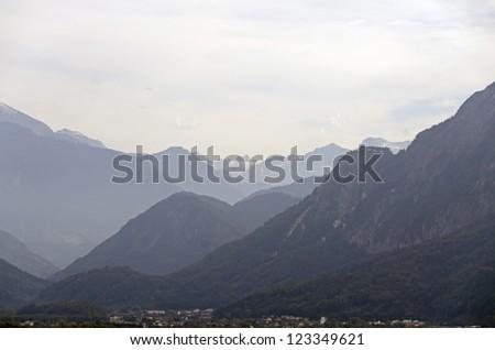 Haze between the mountains in Alps near Salzburg in Austria - stock photo