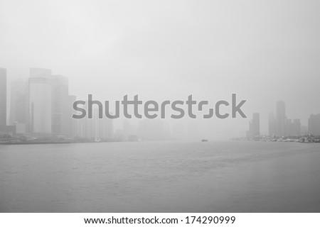 haze, city - stock photo