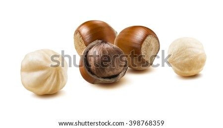 Hazelnut nut group 2 peeled off isolated on white background as package design element