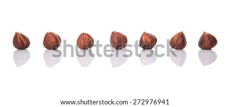Hazelnut over white background - stock photo