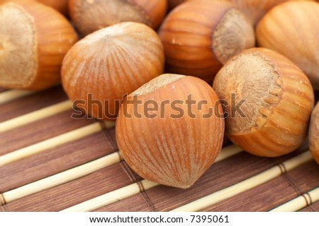 hazelnuts as background - stock photo