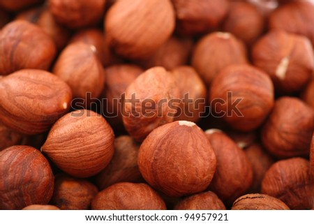 Hazelnuts as background. Close-up of hazelnuts as background