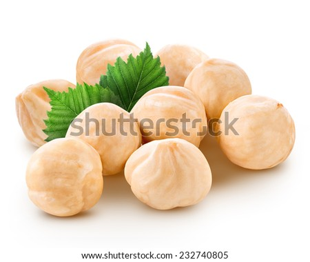 Hazelnuts isolated  - stock photo