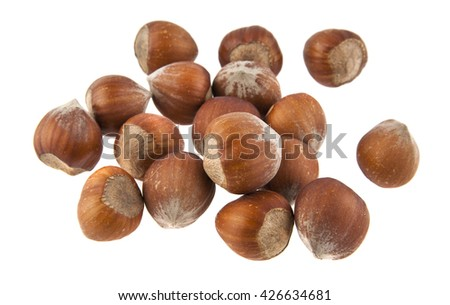 hazelnuts isolated on white background closeup