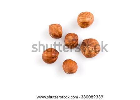 Hazelnuts nut isolated on the white background - stock photo