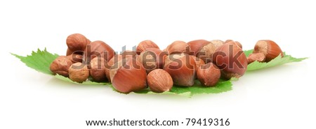 hazelnuts on green leaves isolated on white background