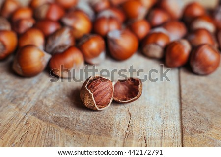 Hazelnuts on rustic background - stock photo