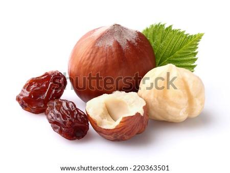 Hazelnuts with raisins - stock photo